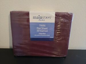 Mainstays Flat Sheet Twin 200 Thread Count  Cottage  Bordeaux