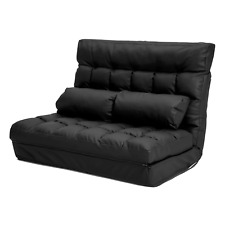 La Bella Lounge Sofa Leather Double Bed Gemini - Black (FT-LS0713-BK)