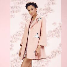 LAUREN CONRAD RUNWAY EMBROIDERED WOOL BLEND SWING COAT PINK FLORAL NEW SIZE 12