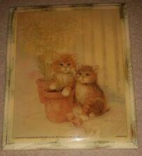 CUTE Vintage Decoupage Kittens in Garden w/ Flowers Picture Wall Art Plaque