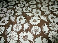 """WHITE FLOWERS ON BROWN, COTTNON FABRIC, $3.95 A YD 1  YARD X 45"""" TOTAL $3.95:"""
