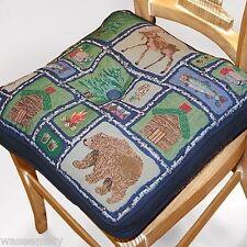 Lodge Northwood Woodland Cabin Bear Tapestry Kitchen Chair Pad Cushion Decor