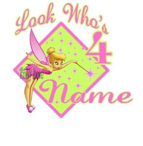 IRON ON TRANSFER PERSONALISED BIRTHDAY TINKERBELL PINK ANY NAME AND NUMBER