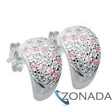925 Sterling Silver huggie Stud Earrings PINK Gemstone 33910