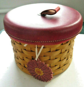 Longaberger 2004 Mother's Day Essentials Basket W/ Red Leather Lid,Liner,Protect