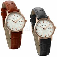Simple Leather Band Charm Quartz Wrist Watch With Date Display For Women's Gift