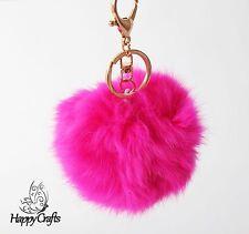 Fluffy Ball Bag Clip Key Ring Hot Pink