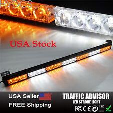 28 LED Emergency Warning Traffic Advisor Flash Strobe Light Bar Amber & White