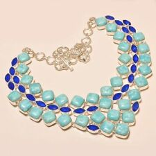 """BEAUTIFUL CARIBBEAN LARIMAR WITH BLUE CHALCEDONY .925 SILVER NECKLACE 18"""""""