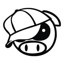 JDM PIG baseball cap Car Decal, Vinyl, Drift Sticker, Funny, JDM Subaru Manga