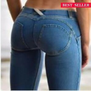 Women Super Soft Starches Well Sexy Casual Skinny Lift Butt Leggings Denim Jeans