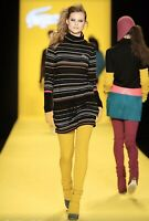 LACOSTE Size FR 36 Turtle Neck Long Sleeve Striped Wool Dress