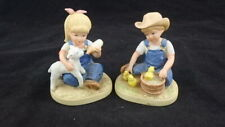 "Vtg 1985 Homco Denim Days "" New Beginnings"" Lot of 2 Debbie & Danny #1500"