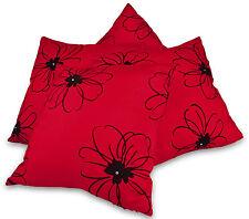"""Conjunto de 4 Diamante Rojo y Negro Imitación Seda 18"""" Cushion Covers BNIP terciopelo flocado"""