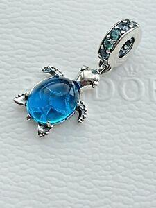 New 2020 Authentic GENUINE PANDORA Ocean Murano Glass Sea Turtle Charm 798939C01