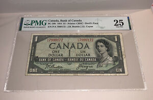 PMG Canada, Bank of Canada $1 Banknote Devil's Face 1954 BC29b