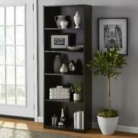 5-Shelf Bookcase Wood 71 inch Tall Bookshelf Closed Back Book Shelving Storage