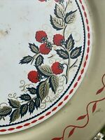 """Vintage Round Circle RASPBERRY Bar Ware Serving Bed Toleware Tray 19"""" ❤️sj11h7s"""