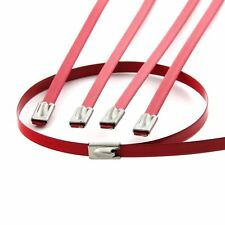 "10 12"" RED LOCKING STAINLESS STEEL ZIP TIES FOR CABLE EXHAUST HEADER PIPE WRAP"