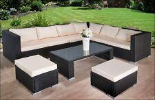 Garden Furniture Set Rattan Corner Sofa Brown Coffee Table Patio Outdoor Stools