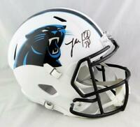 Luke Kuechly Signed Panthers F/S Flat White Speed Helmet- Beckett Auth *Black