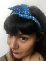 Bandeau foulard cheveux rigide cordon maléable bleu pois jaunes pin-up rétro