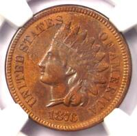 1876 Indian Cent 1C Coin - NGC AU Details - Rare Early Date Certified Penny!
