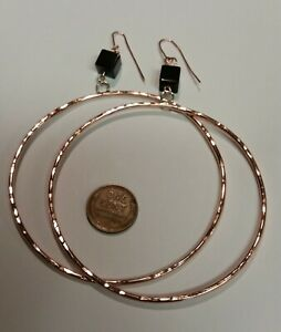 Large Handcrafted Copper Hoops with Black Onyx