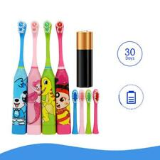 Children Automatic Electric Toothbrush Ultrasonic Waterproof w/ 2 Brush Heads