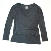 Soma Womens Size S Gray Soft Faux Wrap Top Stretch Knit Long Sleeve