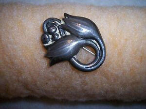 GEORG JENSEN Double Tulip Brooch Denmark Early Hallmark Sterling Silver Brooch