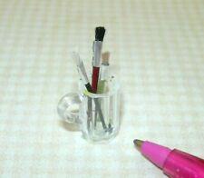 "Miniature Set of 3 Artist's Brushes in Plastic Mug (1 1/8"" Tall): DOLLHOUSE 1:12"