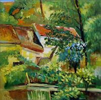 Hand Painted Oil Painting, Paul Cezanne House at Auvers Repro, 24x24in