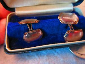 Beautiful Antique 14K Gold & Platinum Double Sided Cuff Links in Box