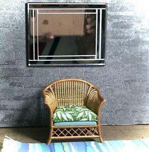 1:12 Dollhouse miniature cane rattan armchair tropical green