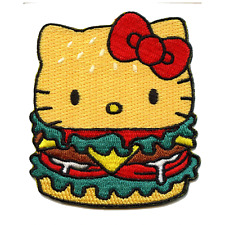Hello Kitty Burger Iron On Embroidered Patch