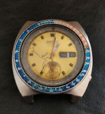 New listing Seiko 6139-6002 POUGE Chronograph Automatic Watch Vintage Dial Yellow To Restore