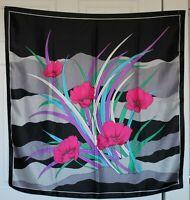 "VTG 70s Bold Poppies Black Fuchsia Gray Jade Orchid Silky Poly Twill 28"" SCARF"