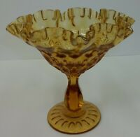 Vintage Fenton Amber Glass Thumbprint Ruffled Compote