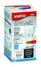 LOT OF 4 Satco S8203 13 Watt 800 Lumens Mini Spiral CFL Soft White 2700K GU24