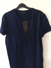 ZARA navy blue cotton T-shirt with stunning cat shaped beads details, UK size S