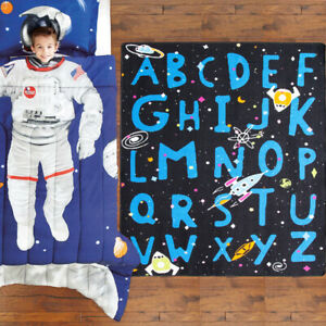 Kids Space Rug Fun Educational Learning Mat Space Ships Planets Alphabet Mats