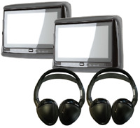 "2x Concept Chameleon 9"" LCD Headrest w/ DVD Player + 2x IR Headphone RSD-905"