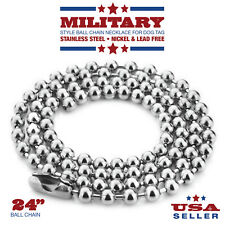 24 Inch Stainless Steel Ball Chain 2.4 mm Military Spec for Army Dog Tag