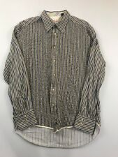 Robert Graham Men's Green Striped Long Sleeve Button Front Shirt Size 3XL