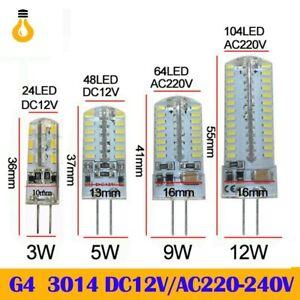 5/1X G4 LED light Bulb 24/64/104LEDS DC 12V AC220V 3014 SMD Silicone Chandelier