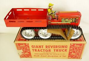 MARX 1940'S VINTAGE GIANT REVERSING TRACTOR TRUCK WITH FARMER-MINT IN ORIG. BOX!
