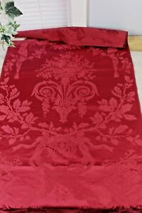Exquisite Antique Red 19thC Silk Damask Sample Fabric c1860s~Roses & Urns