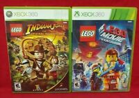 Lego Indiana Jones + Lego Movie -  Games XBOX 360 - Game Lot - Working Complete
