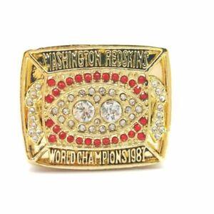 1987 Redskins WILLIAMS NFL Super Bowl 18k GP Brass Championship Ring & Wood Box